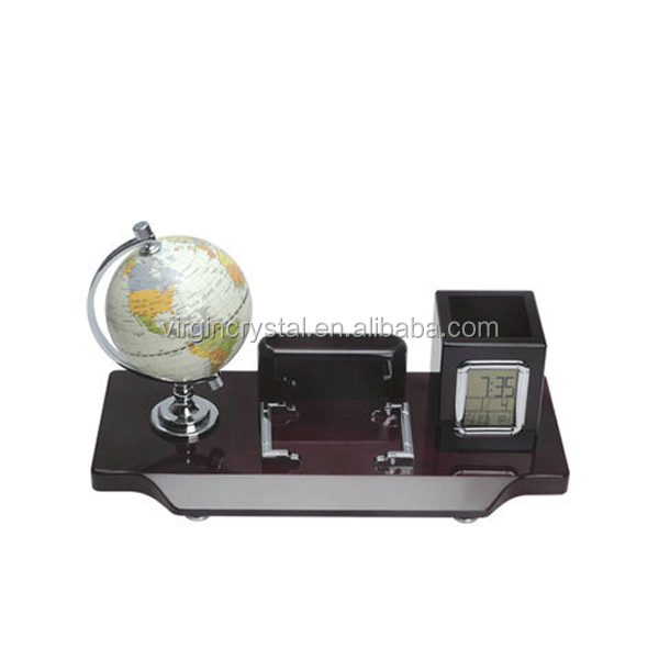Simple design wooden globe office set with pen holder and calculator