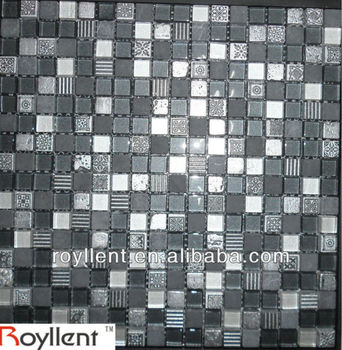 iridescent black mosaic glass tile