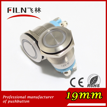 19mm panel diameter stainless steel 24vdc LED ring illuminated momentary screw terminal push button