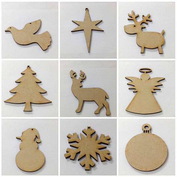 Factory Price MDF Wooden Christmas Decorations Xmas Baubles Tag