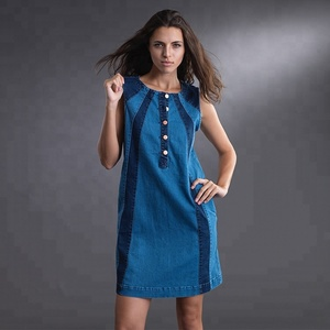 Bulk Denim Jeans Botton Office Lady Sleeveless Dress Pocket Casual Women Summer Dresses