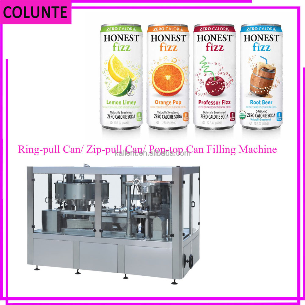 Colunte Beverage Zip-top/Pop-top/Ring-pull Can Filling Plant, Can Filing Machine Line