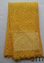 yellow guipure lace fabric/multi color guipure lace fabric dress