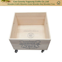 Customized wooden storage box on wheels