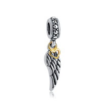 Custom hollow gold heart silver Angel wings charm pendant silver beads 925
