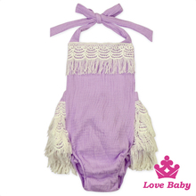 Lovely Baby Clothing Soft Ruffle Lace Baby Cotton Jumosuits Organic Kids Wholesale Girl Clothes Toddle Girl Romper
