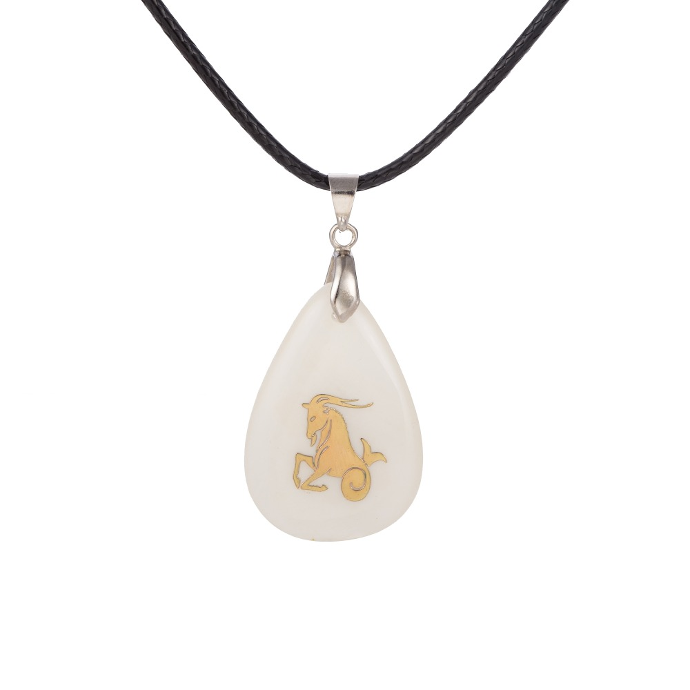 simple design Aries symbol the zodiac shell pendant leather necklace