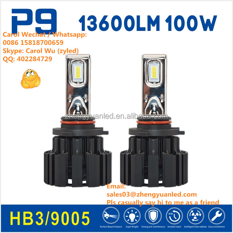 Ever Best TOP 1 Bright P9 100W 13600 lumen h1 hb3 9005 pk 120W h7 xenon car led bulb h4 led kits 12000lm r3 r4 s1 s2 c2 5500lm