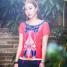 HongShang Chinese Ethnic Dress Summer Slim body short sleeve blouse Cotton Floral print short sleeve blouse Make to order