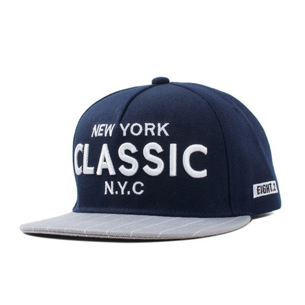 Classic new york snapback cap with new york classic embroidery 5 panel grey navy polyester hip hop boy and girl hat (SU-HPS109)