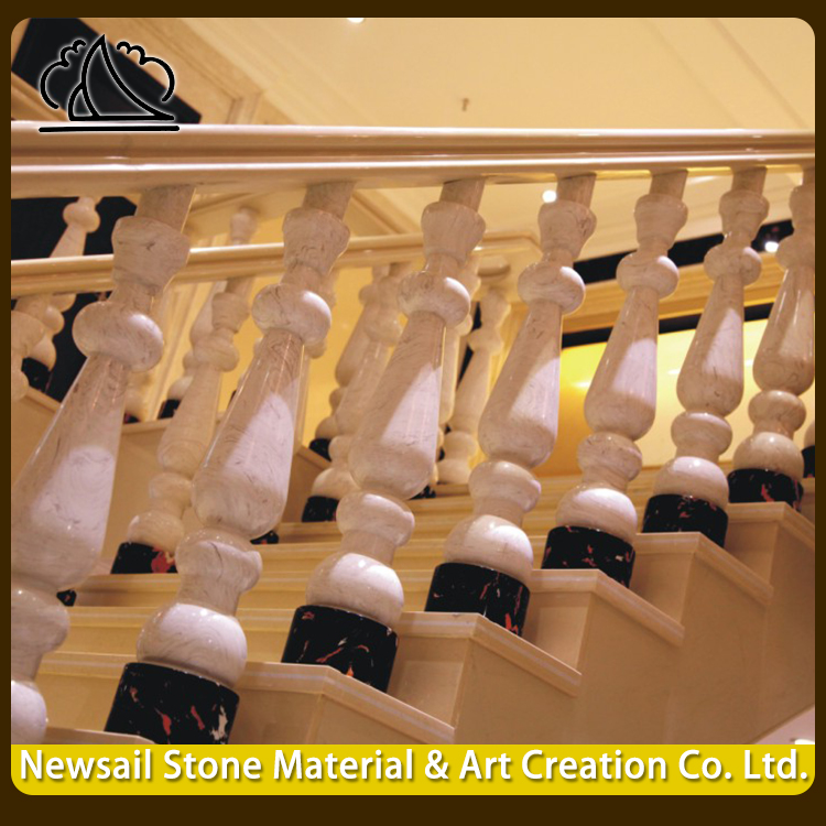 Natural Marble Stone Handrail Design Modern Balcony Stair Railings Pillar