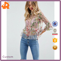 customize long sleeve transparent sexy woman blouse,wholesale latest blouse designs