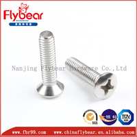 China supplier ASTMA182 F304 stainless steel ANSI/ASME B18.6.3 cross drive raised countersunk head screws