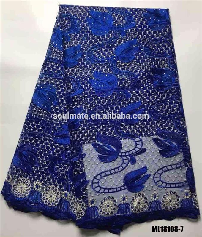 Chemical African swiss bridal guipure embroidered tulle beaded lace fabric wholesale