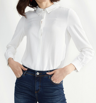 2017 The New Spring White Shirt Female Long Sleeved Chiffon Shirt