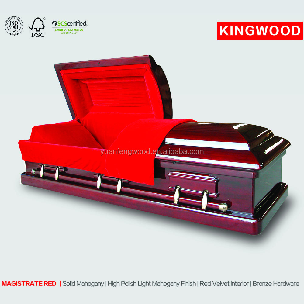 MAGISTRATE RED cheap funeral steel metal casket for sale