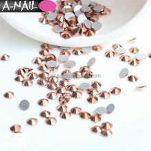 3D Nails Art Decoration 1440pcs/bag SS3-SS20 Flatback Strass Stones Rose Gold Non Hotfix Crystal Rhinestones