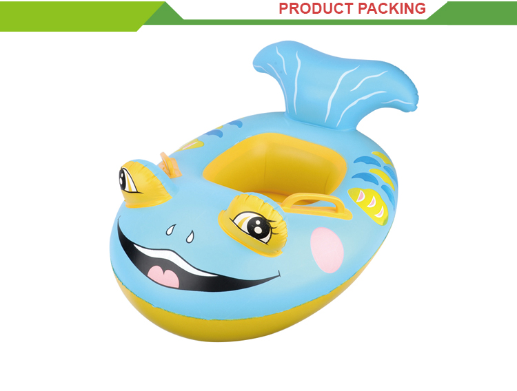 Hot selling inflation fish shape boat toy swimming ring baby