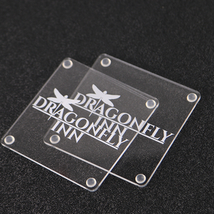 3mm thick Custom engraving Clear Acrylic Coasters laser cutting acrylic cup coaster