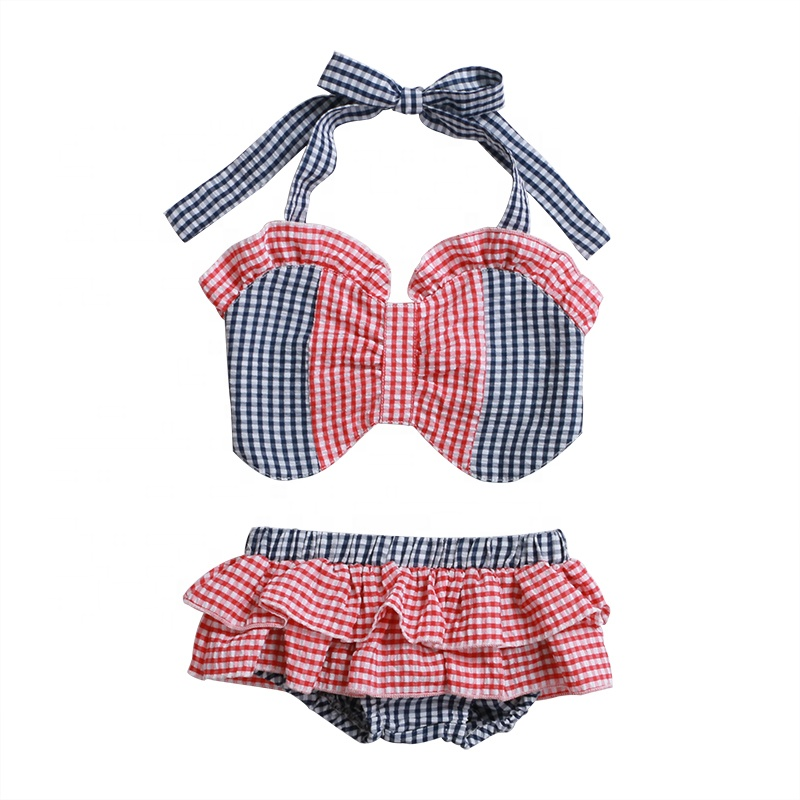 latest design wholesales cute baby clothing summer baby plain playsuit beach outfit baby swimsuit seersucker