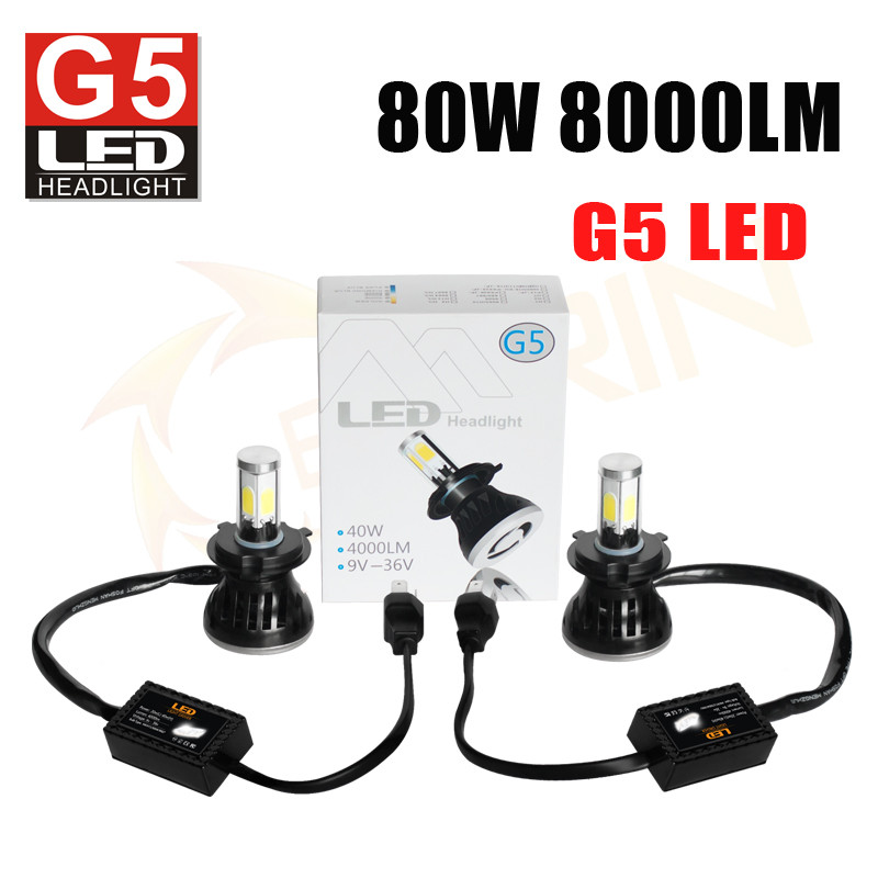40W 4000LM G20 car led headlight kit h1 h3 h4 h7 h8 h9 9012 9007 9004 super bright led headlight bulbs 12v 6000K car headlight