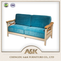European style solid wood frame sofa design for everyday living room furniture