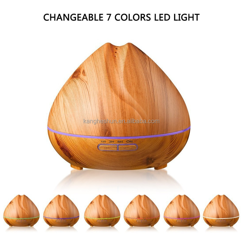 Free Shipping 7 Color LED Lights Wooden <strong>Grain</strong> 400mL Humidifier Aromatherapy Ultrasonic Aroma Essential Oil Diffuser