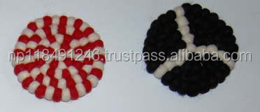 Wool Felt Ball coaster 10 cm