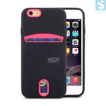 Dual Color TPU Rubber Case Card Slot Rainbow Plastic Case for APPLE iPhone 6 6s