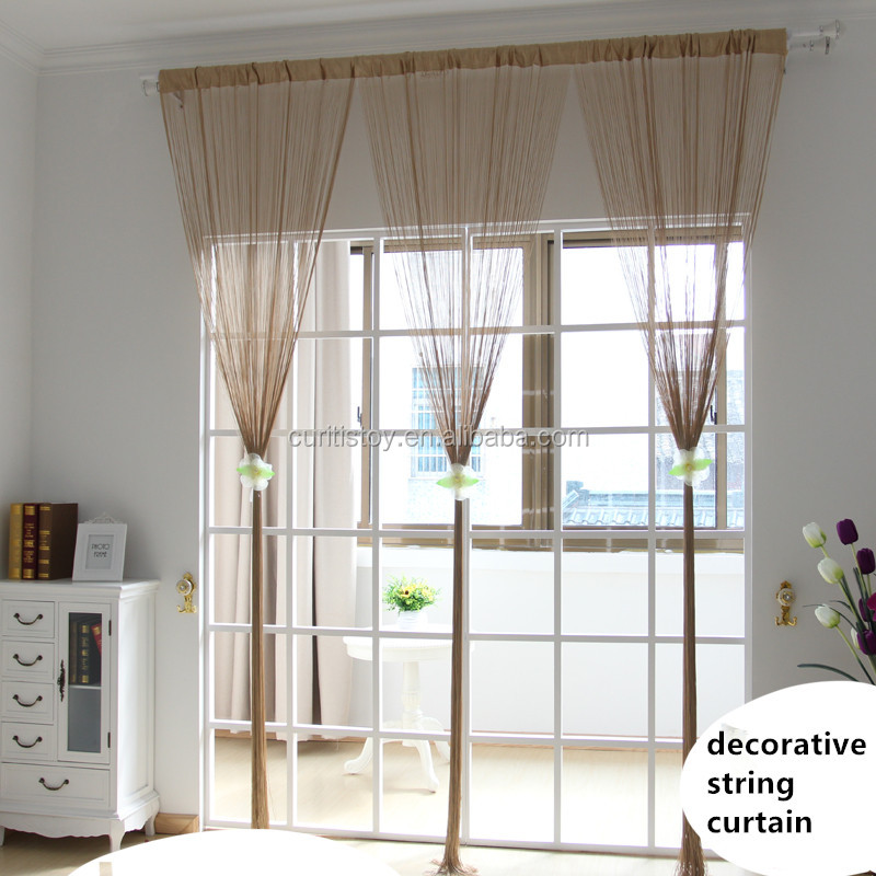 100cm*200cm 100 polyester material kitchen location Decorated home european style living room curtains rope door line curtain