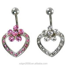 Top quality hanging Heart and Flower design free navel belly button rings with surgical steel bar