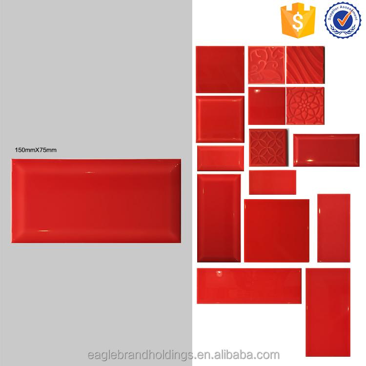 Sizes 75x150 Red Kitchen Wall Tile Bathroom Interior Tile Bevel Edge Ceramic