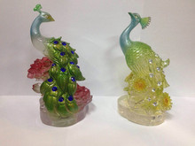 2017 Fengshui Animal Figurine Home Decoration A PAIR OF PEACOCK
