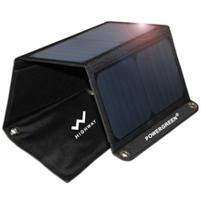 PowerGreen Foldable Solar Panel Charger 21W, Portable Solar Panel Charger for Phone and Other 5V Devices