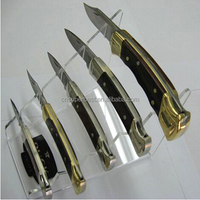 Hot sale manufacturer clear acrylic knife holder,a set knife display stand