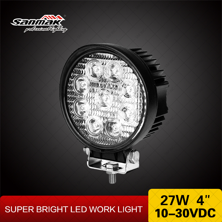 High quality 27w 10 30V flood light for off road SUVcars round car working spotlight