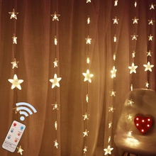 Remote Control <strong>Timer</strong> Dimmable 80-Stars Curtain Lights 144 LED 8 Modes Twinkle Window String Lights