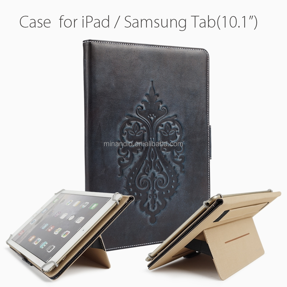 Promotional prices genuine leather tablet case for iPad/Samsung Tab(10.1)