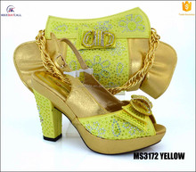 Luxury save 50% Wholesale Italian leather matching shoes and bags women set in yellow,lilac