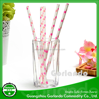 Best selling biodegradable polka dot design paper drinking straw