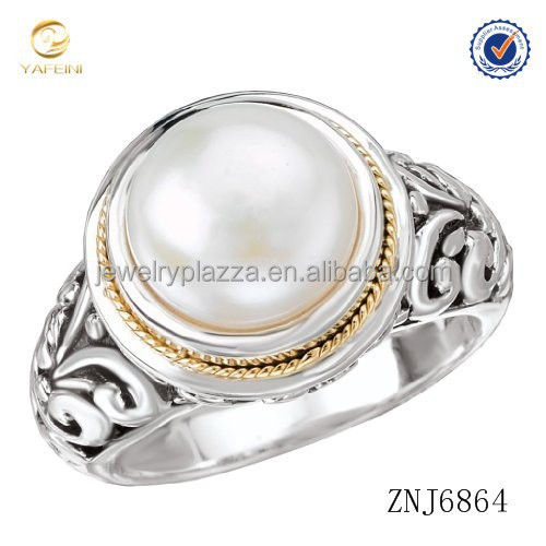 925 Silver FRESHWATER Pearl Filigree Ring with 18k Gold Accents RING