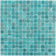 Immediate delivery iridescent aquamarine green goldline glass mosaic pool tile