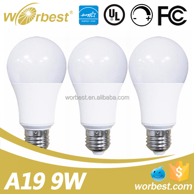UL Energy Star dimmable A19 LED Light Bulb E26 Base 9.5W 800Lm Cool White 5000k