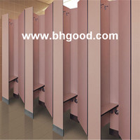 pink Compact Laminate HPL Toilet Partition for school