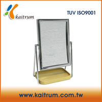 Premium Quality Chrome and Wooden Square Standing Shaving Mirror Desktop Mirror