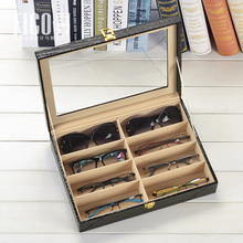 new 8 slots leather glasses case eye glasses display storage box