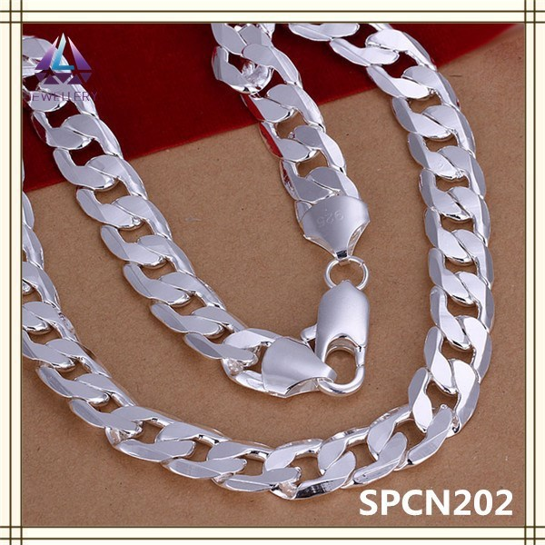 Necklace 925 Sterling Silver Jewelry Silver Chain Wide Flat Chain For Woman