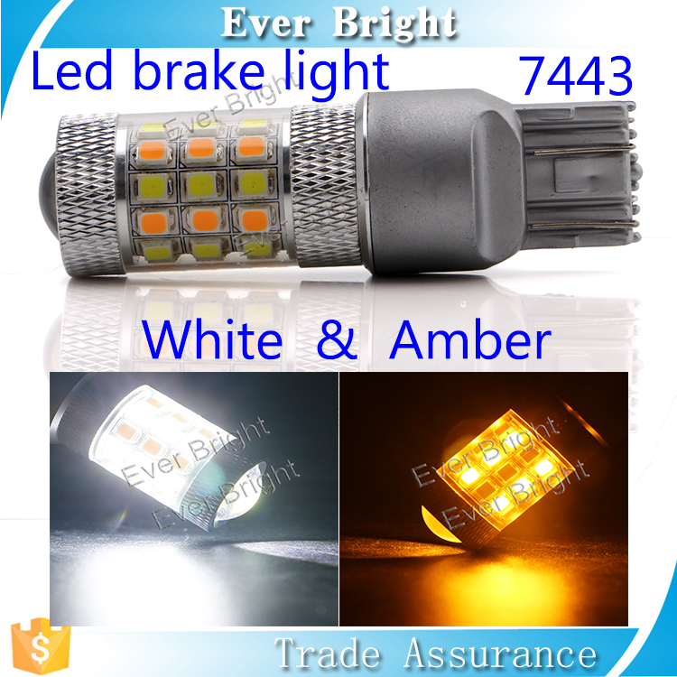 Guangzhou car led light 2835 42SMD two color white amber led brake light t20 w21/5w 7443 led