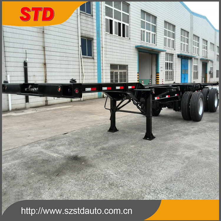 China 2.5m wheel base 40 ft extendable chassis trailer