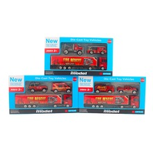 New 1:87 Metal Toy Truck Tractors with Carriages and Mini Fire Truck Toy